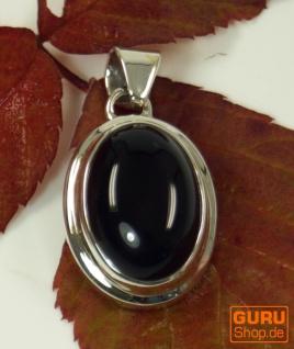 Ethno Silberanhänger, ovaler indischer Boho Kettenanhänger - Onyx