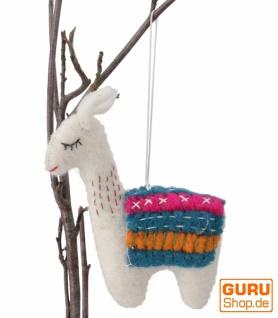 Filzdekoration Lama, handgemachte Tiere aus Filz, Baumbehang - weiß
