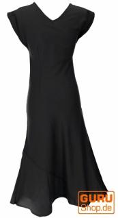 Langes Sommerkleid, Boho chic Leinenkleid - schwarz - Vorschau 2