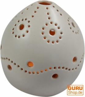 Windlicht weiß, Teelichthalter aus Keramik