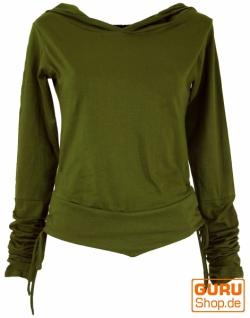 Goa Psytrance Shirt, Kapuzen Hoddy, Elfen Hoody, Langarmshirt - olive