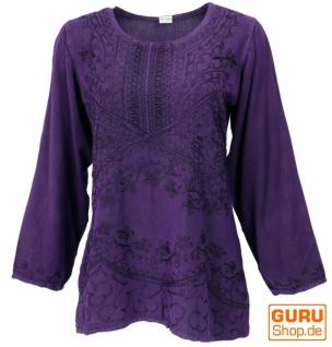 Bestickte indische Hippie Langarm Tunika, Boho-chic Bluse - violett