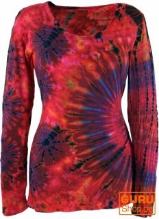 Batik Shirt, Langarmshirt - rot