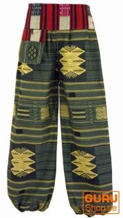 Yogahose, Ikat Pluderhose mit breitem gewebtem Bund - olivgrün