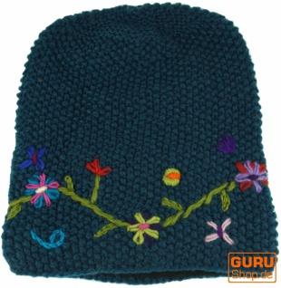 Wollbeanie mit Blumenstickerei, Nepalmütze - petrol - Vorschau 2