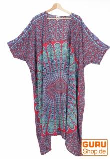 Leichter Sommer Kimono, Umhang, Strandkleid mit Mandala Muster - rot/blau