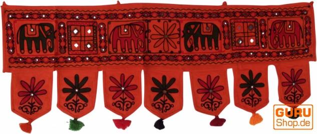 Indischer Wandbehang, Orientalischer Wimpel mit Pailletten, Toran - Elefant orange