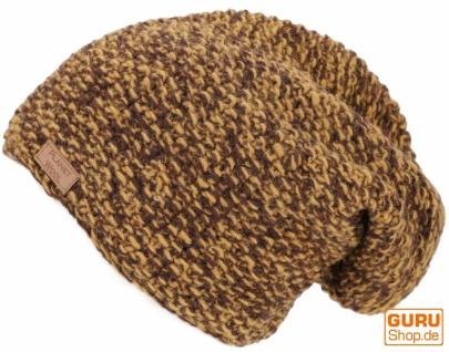 Wollmütze, mellierte Strickmütze aus Nepal - senfgelb/schokobraun