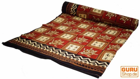 Blockdruck Tagesdecke, Bett & Sofaüberwurf, handgearbeiteter Wandbehang, Wandtuch- rot/cream Schidkröte