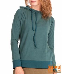 Pullover, Langarmshirt mit Kapuze aus Bio-Baumwolle / Chapati Design - peacock blue