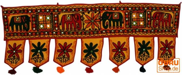 Indischer Wandbehang, Orientalischer Wimpel mit Pailletten, Toran - Elefant gelb