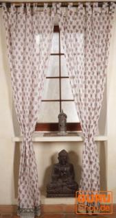 Boho Vorhänge, Gardine (1 Paar ) mit Schlaufen, leicht transparenter handbedruckter ethno Style Vorhang - Muster 10