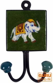 Doppelwandhaken, Garderobenhaken mit handgefertigter Keramik Fliese - Modell 11