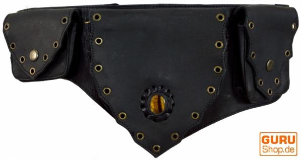 Sidebag, Festival Leder Gürteltasche, Goa Bauchtasche mit Halbedelstein - schwarz