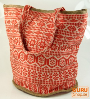 Handgefertigte Boho Shopper Tragetasche, Strandtasche, Einkaufstasche - orange