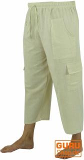 3/4 Yogahose, Shorts, Cargo Hose, Goa Hose - naturweiß - Vorschau 2