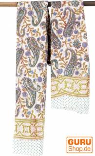Leichter Pareo, Sarong, handbedrucktes Baumwolltuch - Farb Kombination 32