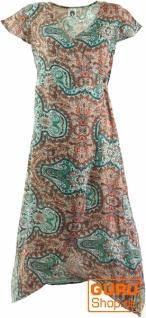 Boho Wickelkleid, langes Sommerkleid - grün/braun
