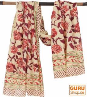 Leichter Pareo, Sarong, handbedrucktes Baumwolltuch - rot Kombination 29