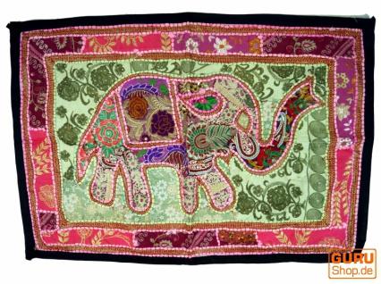 Indischer Wandteppich Patchwork Wandbehang/Tischläufer Einzelstück 90*65 cm - Muster 15