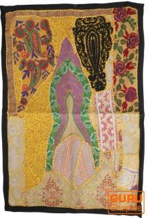 Indischer Wandteppich Patchwork Wandbehang/Tischläufer Einzelstück 90*65 cm - Muster 20