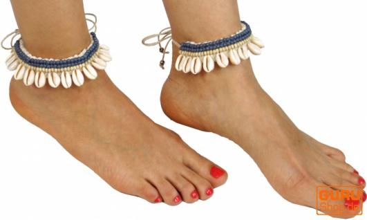Fußkettchen, Fußschmuck, Goaschmuck, Barfuß Verzierung, Halsschmuck - weiß/blau 4