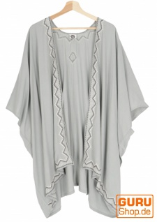 Kurzer bestickter Sommer Kimono, Kaftan, Strandkleid - hellgrau
