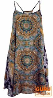 Boho Dashiki Minikleid, Trägerkleid, Strandkleid, Tank Top - goldgelb