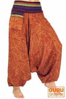 Bedruckte Haremshose, Pluderhose mit breitem gewebtem Bund - rostorange