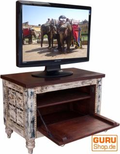 Kleine Plasma TV Box im Kolonialstil Fernsehtisch - weiß