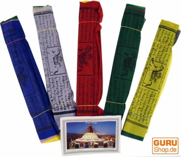 Gebetsfahnen (Tibet) 5 Stück Sparpack Gebetsfahnen in verschiedenen Längen - 20 Wimpeln/Viskose