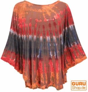 Batik Poncho, Tunika, Boho Kaftan, Maxibluse - rot/orange