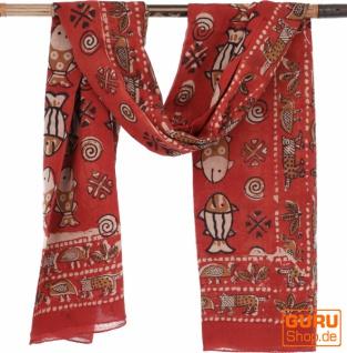 Leichter Pareo, Sarong, handbedrucktes Baumwolltuch - rot Kombination 18