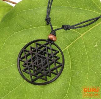 Chakra Halskette, Boho Kette aus Holz - Yantra