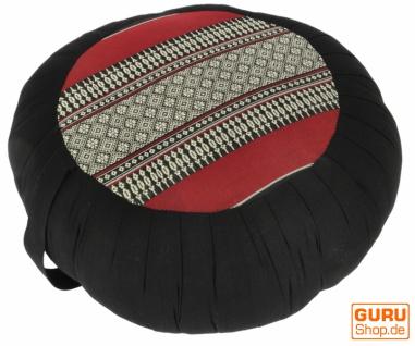 Rundes Meditationskissen Yoga Kissen, Sitzkissen, Bodenkissen, Dekokissen - schwarz/rot