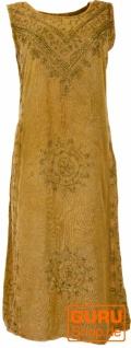 Besticktes Boho Sommerkleid, indisches Hippie Kleid - goldbraun Design 4