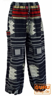 Yogahose, Ikat Pluderhose mit breitem gewebtem Bund - schwarz