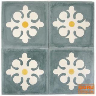 Zementfliesen Set, Ornament aus 4 Fliesen, grau - Design 8
