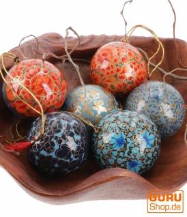 Upcyceling Weihnachtskugel Set aus Pappmachee, Handbemalter Christbaumschmuck, Kaschmirkugeln - blau/orange