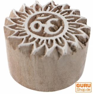 Indischer Textilstempel, Stoffdruckstempel, Blaudruck Stempel, Holz Model - Ø 4 cm OM 4