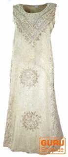 Besticktes Boho Sommerkleid, indisches Hippie Kleid, beige - Design 6