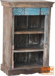 Kleines Rustikales Bücherregal, Massivholz, Indien - Modell 31
