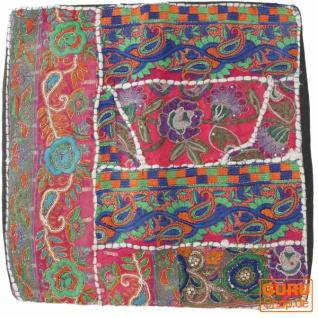 Patchwork Kissenhülle, Dekokissen Bezug aus Rajasthan, Einzelstück - Muster 14