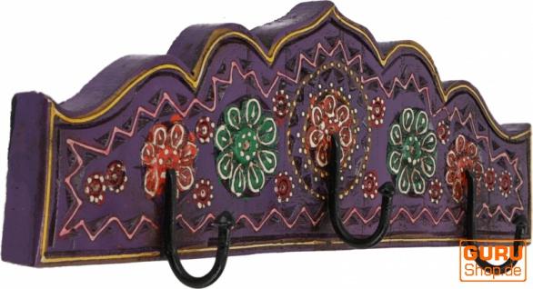 Dreifach Garderobenhaken, Holz Kleiderhaken - violett