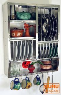 Edelstahl Küchenregal, Wandregal Miniküche mit Ablagefür 13 Teller, 7 Untertassen, 8 Tassen - mittel