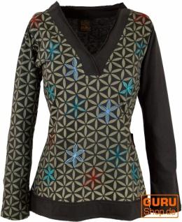 Besticktes Langarmshirt mit V-Neck Blume des Lebens Hippie chic - braun