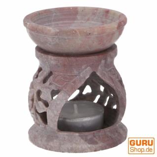 Indische Duftlampe, ätherisches Öl Diffusor, Teelicht Halter für Aromatherapie, Aromalampe aus Speckstein - Rund Blüte 1 - Vorschau 5