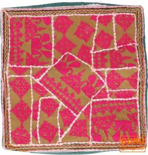 Patchwork Kissenhülle, Dekokissen Bezug aus Rajasthan, Einzelstück - Muster 52