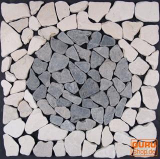 Mosaikfliese mit Kreis aus Marmor (Mo-08) - Design 20
