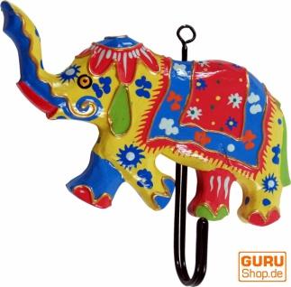 Bunter Holzkleiderhaken, Wandhaken, Kleiderhaken - Elefant 1